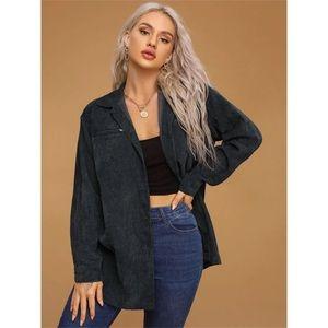 Zara Gray Corduroy Button Up Top